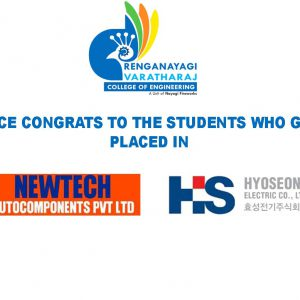 RVCE – Students Placed in HYOSEONG & NEWTECH AUTOCOMPONENTS pvt ltd
